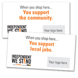 Independent We Stand merchandise tags
