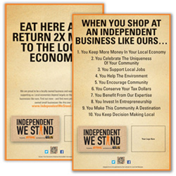 Independent We Stand buy local materials