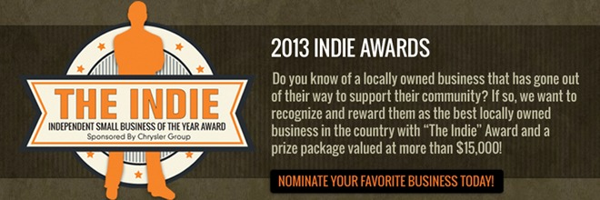 "The 2013 ""Indie Award"" – Now Accepting Nominations!"